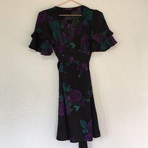 Vintage USA made silk Betsey Johnson floral dress